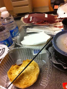 Super appetizing lunch at COH: soup, English muffin and a bag of blood. Yummy!