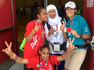 My new friends - the swimming delegation from the tiny Kingdom of Bahrain