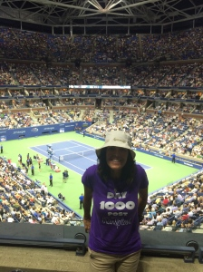 Serena vs Venus. The Donald was sitting right below us. I watched his hair more than the match.