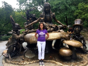 Central Park's Alice in Wonderland sculpture. Can you spy the creepy crasher?