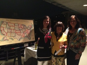With my mom and Jared's mom, Debbie with the map we presented to Jared highlighting his coast to coast route.