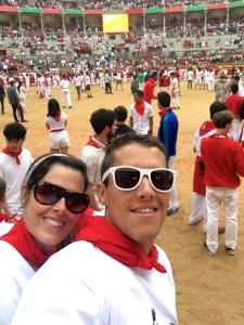 Between bulls inside the Arena de Toros
